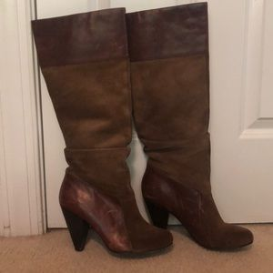 Jessica Simpson suede and leather slouch boots